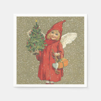 Vintage Victorian Red Christmas Child Angel Tree Paper Napkin