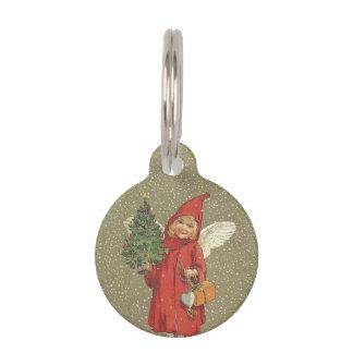 Vintage Victorian Red Christmas Child Angel Tree Pet ID Tag