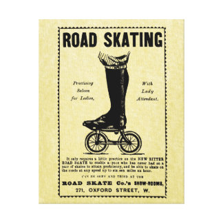 Vintage Victorian Roller Skating Canvas Ad