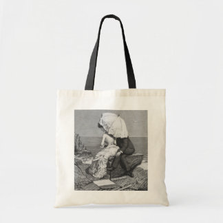 Vintage Victorian Romantic Couple by Beach Canvas Bags