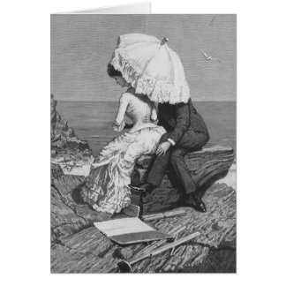 Vintage Victorian Romantic Couple by Beach Greeting Card