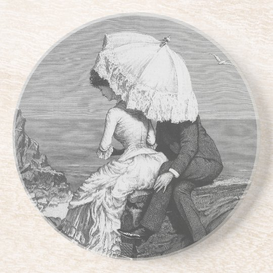 Vintage Victorian Romantic Couple by Beach Drink Coaster