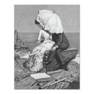 Vintage Victorian Romantic Couple by Beach 4.25x5.5 Paper Invitation Card