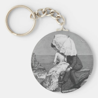 Vintage Victorian Romantic Couple by Beach Keychain