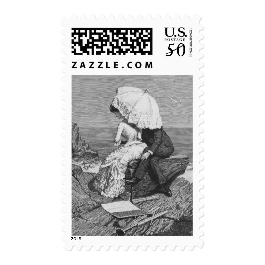 Vintage Victorian Romantic Couple by Beach Postage