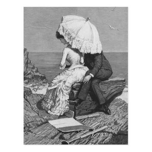 Vintage Victorian Romantic Couple by Beach Post Cards
