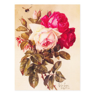 Vintage Victorian Romantic Red and Pink Roses Post Cards
