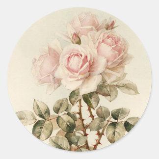 Vintage Victorian Romantic Roses Classic Round Sticker