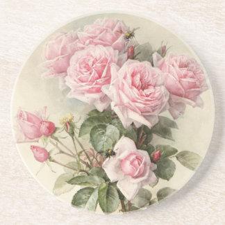 Vintage Victorian Romantic Roses Beverage Coasters