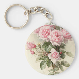 Vintage Victorian Romantic Roses Basic Round Button Keychain