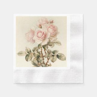 Vintage Victorian Romantic Roses Paper Napkin