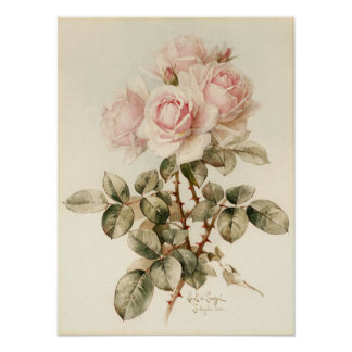 Vintage Victorian Romantic Roses Print