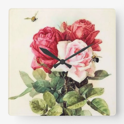 Vintage Victorian Rose Bouquet Wall Clock