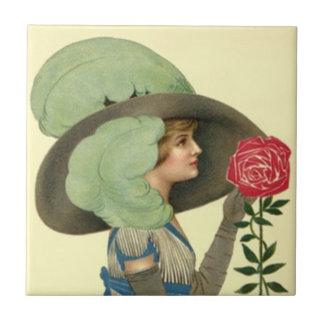 Vintage Victorian Rose Fashion Tile cream