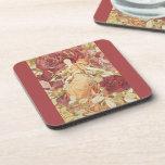 Vintage Victorian Rose Garden Goddess Coaster