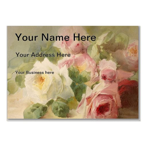 Vintage Victorian Rose Watercolor Business Card