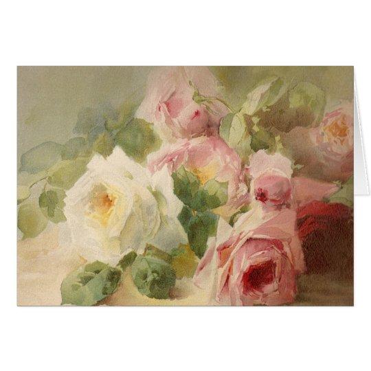 Vintage Victorian Rose Watercolor Card