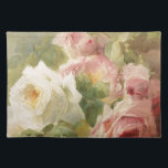 """Vintage Victorian Rose Watercolor Cloth Placemat<br><div class=""""desc"""">This is an absolutely amazing Watercolor of a bouquet of roses from the Victorian era.  It is truly one of the most feminine,  shabby chic,  and delicate vintage images I have found.  A perfect choice for someone who is very feminine,  classy,  loves pink,  and flowers (roses).</div>"""