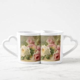 Vintage Victorian Rose Watercolor Couples Coffee Mug