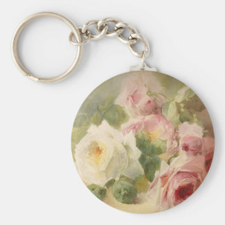 Vintage Victorian Rose Watercolor Keychain