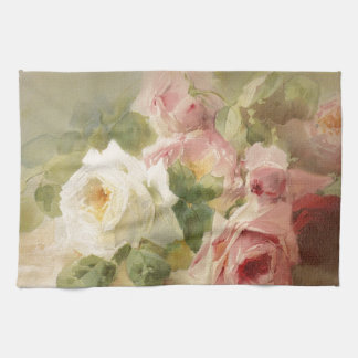 Vintage Victorian Rose Watercolor Kitchen Towel