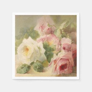 Vintage Victorian Rose Watercolor Napkin
