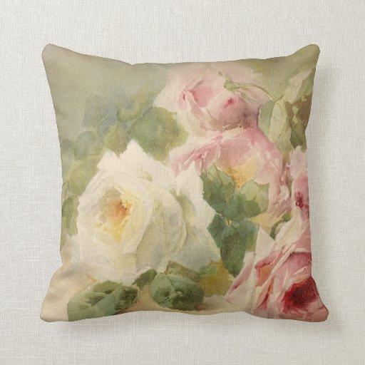 Vintage Victorian Rose Watercolor Pillows Zazzle