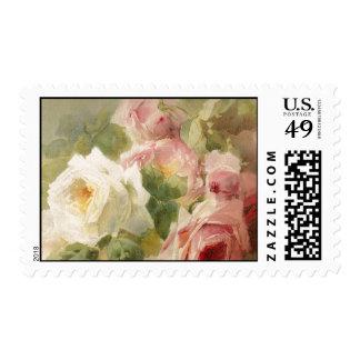 Vintage Victorian Rose Watercolor Postage