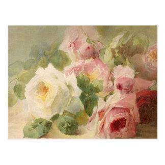 Vintage Victorian Rose Watercolor Postcard