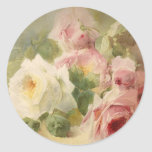 Vintage Victorian Rose Watercolor Classic Round Sticker