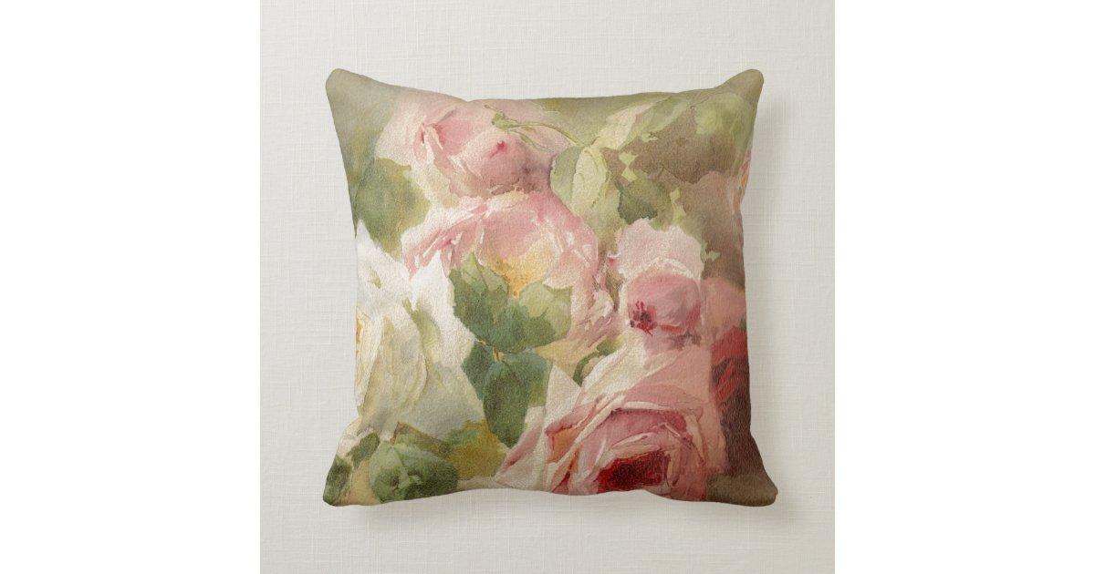 Vintage Victorian Pillows : Vintage Victorian Rose Watercolor Throw Pillow Zazzle
