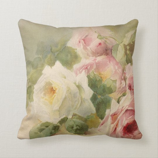 Vintage Victorian Rose Watercolor Throw Pillow Zazzle.com