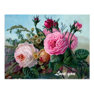Vintage Victorian Roses Custom Postcard