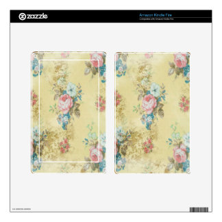 Vintage Victorian Roses Pink Yellow Blue Flowers Skin For Kindle Fire