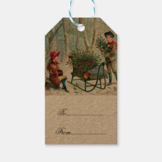 vintage,victorian,rustic,christmas,pattern,girl an pack of gift tags