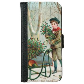 vintage, victorian, rústico, navidad, modelo, funda cartera para iPhone 6