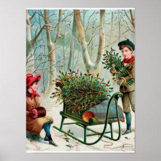 vintage, victorian, rústico, navidad, modelo, póster
