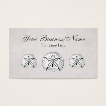 Beach Themed Vintage Victorian Sand Dollars with Aqua Beach Business Card
