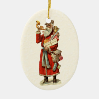 Vintage Victorian Santa Claus Blowing Gold Horn Double-Sided Oval Ceramic Christmas Ornament