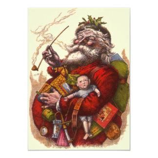Vintage Victorian Santa Claus Christmas Invitatio Card