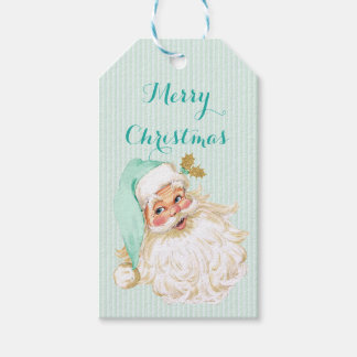 Vintage Victorian Santa Claus Neutral Mint & Gold Gift Tags
