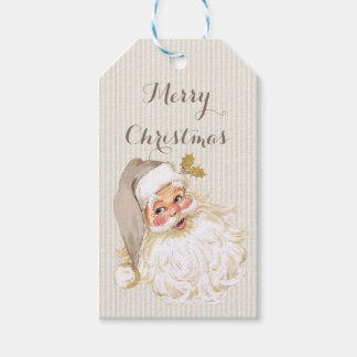 Vintage Victorian Santa Claus Neutral Taupe & Gold Gift Tags