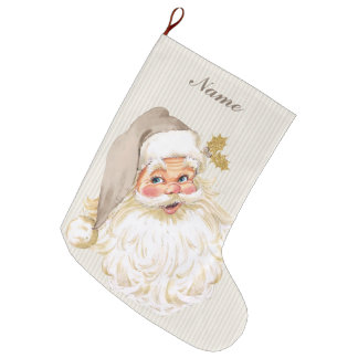 Vintage Victorian Santa Claus Neutral Taupe & Gold Large Christmas Stocking