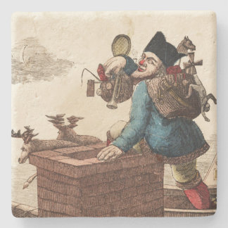Vintage Victorian Santa Claus on Chimney Stone Coaster