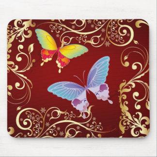 Vintage Victorian Scroll Butterflies Mousepad