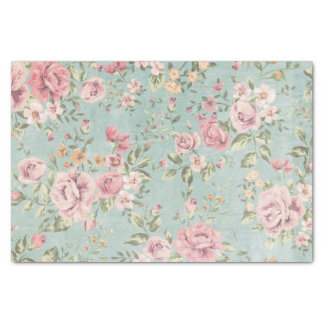 "Vintage victorian shabby chic pale blue floral red 10"" x 15"" tissue paper"