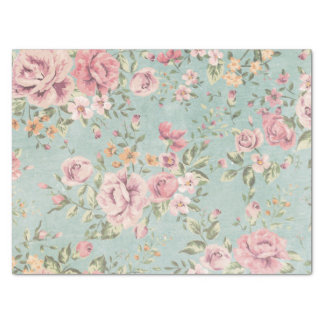 "Vintage victorian shabby chic pale blue floral red 15"" x 20"" tissue paper"