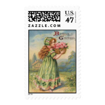Vintage Victorian Shamrock March  Happy Birthday Postage