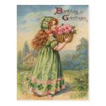 Vintage Victorian Shamrock March Happy Birthday Postcards