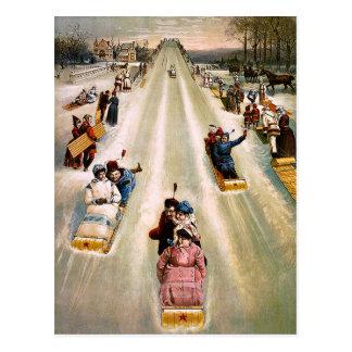 Vintage Victorian Sledding Hill Christmas Postcards